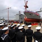 """Lançado ao mar o navio de patrulha OPV 83 """"Marinero Fuentealba"""" da Armada do Chilena"""