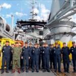 """Comandante de Operações Navais embarca no NSS """"Felinto Perry"""" para visita às obras do EBN"""