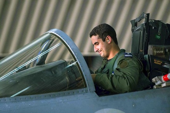 Prince Khaled bin Salman in the cockpit of his F15 fighter jet