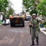 Demonstração de patrulhamento ostensivo do 34º Batalhão de Infantaria Mecanizado