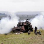 Campo de Tiro de Artilharia real com o 15º Grupo de Artilharia de Campanha Auto Propulsado