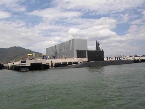 """Objetivo foi verificar a adequabilidade da atracação dos submarinos Classe """"Tupi"""" no cais da nova base"""