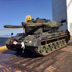 Desembarque das VBC DAAe Gepard 1A2 no porto do Rio de Janeiro