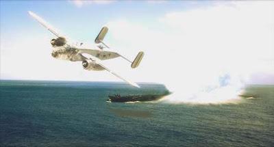 Representação artistica da B-25 quando atacou um submarino alemão