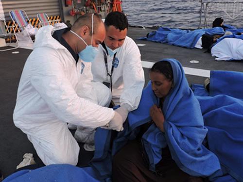 Alguns migrantes estavam muito debilitados e receberam atendimento